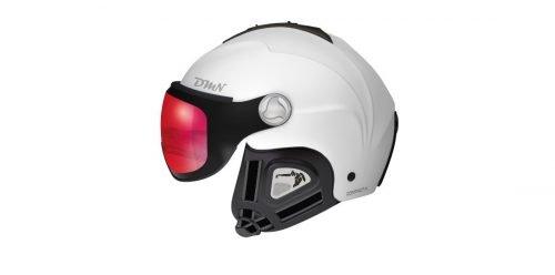 Casco da sci bianco con visiera fotocromatica specchiata rossa modello compact v