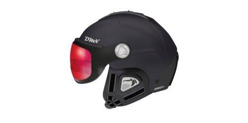 Casco da sci con visiera fotocromatica orecchio morbido modello compact-v nero rosso