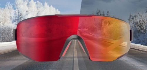 occhiale da running con lente fotocromatica specchiata rossa per running su asfalto e trail running modello PERFORMANCE