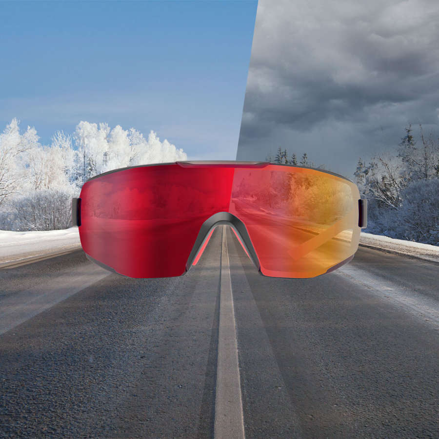 Occhiale per bici da corsa lente fotocromatica specchiata a mascherina modello performance