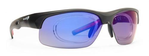 Occhiale sportivo con clip vista fusion lenti intercambiabili specchiate blu dchange nero opaco