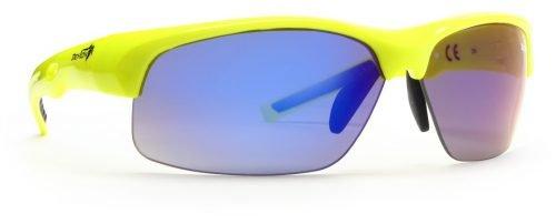 Occhiale per bici da corsa lenti intercambiabili specchiate giallo fluo modello Fusion