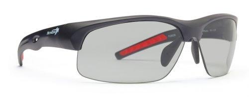 Occhiali da ciclismo modello fusion lenti fotocromatiche dchrom nero opaco rosso