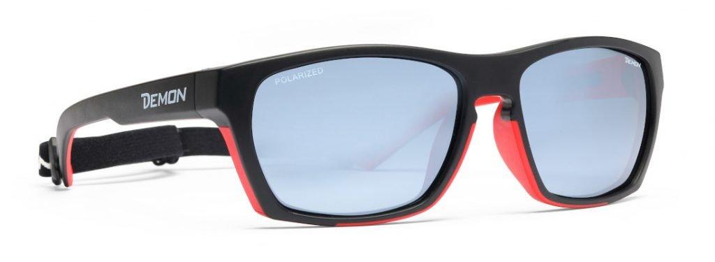 Occhiale da trekking con lenti polarizzate specchiate modello special nero rosso