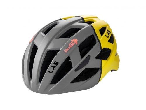 Casco per bici da corsa enigma colore grigio giallo con luce dmn